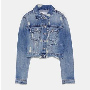 New zara cropped denim jacket xs medium wash